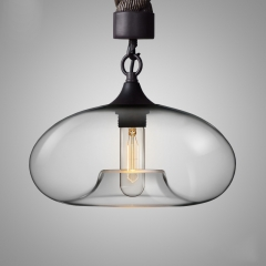 Contemporary 1 Light Rope Hanging Pendant with Glass Shade for Bar