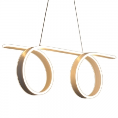 Modern Style Double Circular Curve LED Chandelier for Kitchen Island