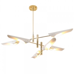 Modern 6 Light Chandelier in Brass with Black/White Shade