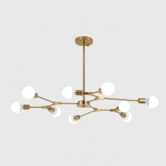 Modern 9-Light Organic Branching Chandelier in Brass, 3 Sides