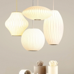 Nelson Ball Cigar Saucer Bubble Pendant Modern White Single Light Natural Silk Pendant Lamp