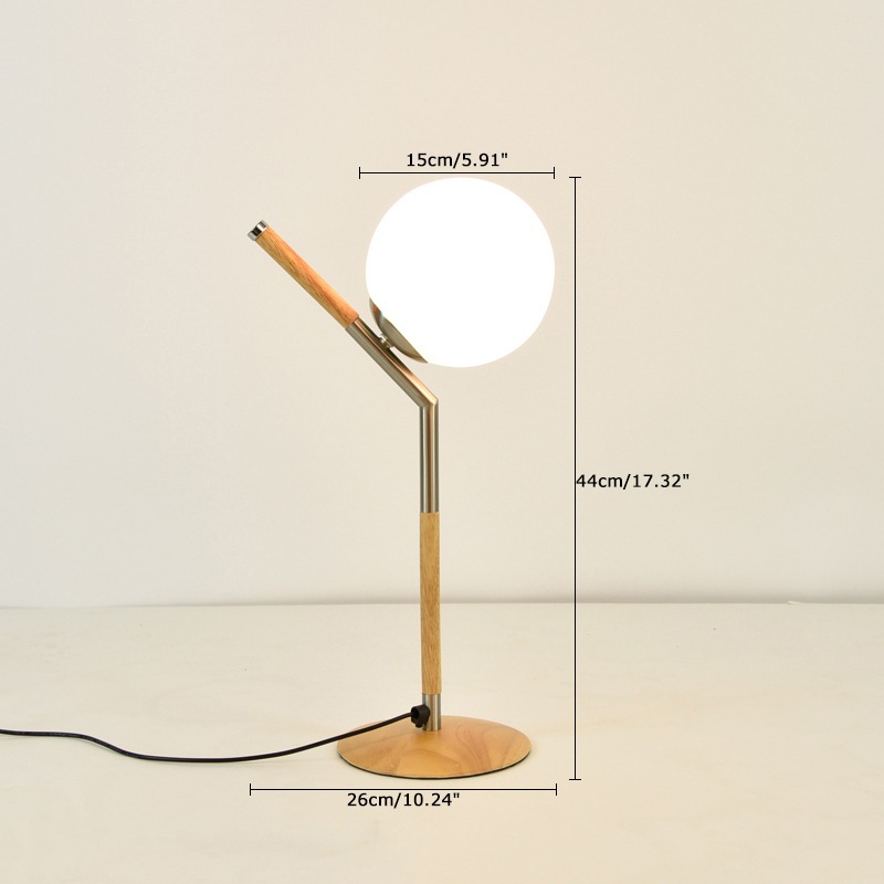 Modern Style 1 Light Wooden Desk Lamp With Globe Shade Lamps