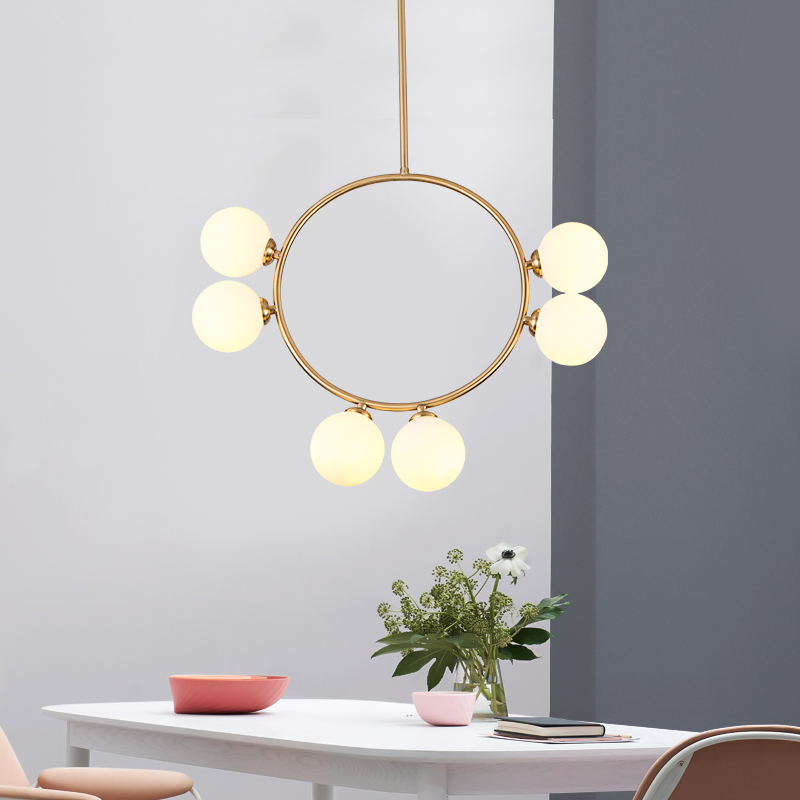 Geometric Brass Chandelier: Modern 6-Light Geometric Brass Chandelier With Opal Glass