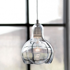 Modern Style 1 Light Mega Bulb Pendant Light with Mouth Blown Glass