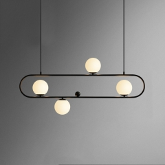 Modern Style 4 Light Liner Chandelier with Mouth Blown Opaline Spheres