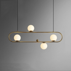Mid-Century Modern Style 4 Light Oval Ring Chandelier with Mouth Blown Opaline Spheres for Kitchen Island/Dining Table