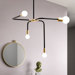 Modern Style 4 Arms Beaubien Suspension Chandelier in Brass
