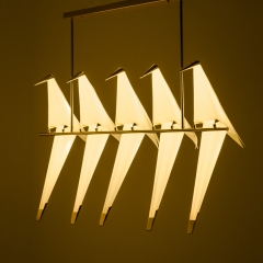 Mid Century Modern Golden Crane LED Branch 5 Light Suspension Lamp Chandelier