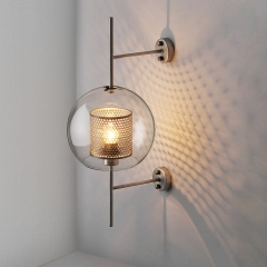 Modern 1 Light Globe Glass Wall Sconce in Brass for Hallway, Bedside, Bar or Bathroom Vanity Lighting