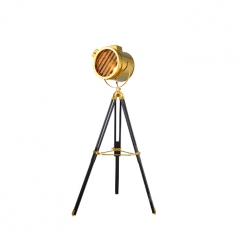 Industrial Loft Chic 1 Light Tripod Floor Lamp in Gold/Chrome
