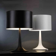 Modern Simple Black/White 1 Light Spun Light Table Lamp with Die-cast Aluminum Diffuser