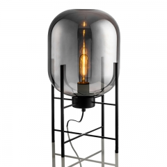 Modern Chic 1 Light Cestita Metalica Table Lamp with Somke Glass Shade