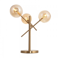 Modern 3 Light Argento Table Lamp in Gold with Glass Globes