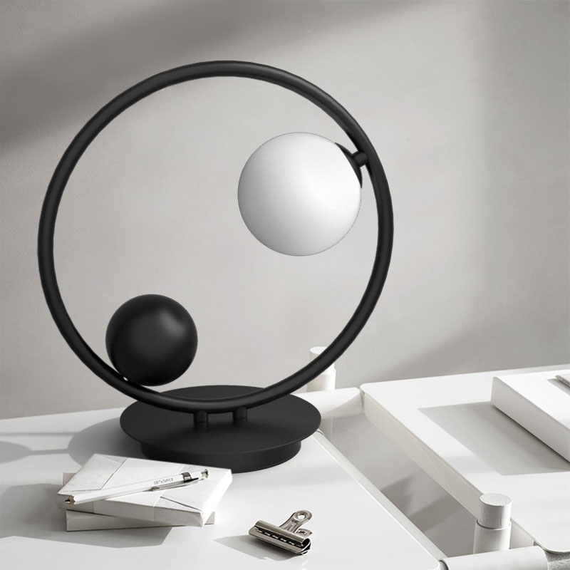 Modern Black Circle 1 Light Table Light with Hand-blown Globe