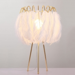 Modern 1-Light White Feather Table Light in Brass