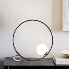 Modern Simple Black 1 Light Circle Table Lamp with Brass Base and Glass Globe