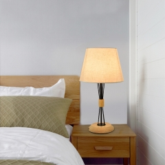 Modern Simple White 1 Light Desk Lamp with Fabric Shade