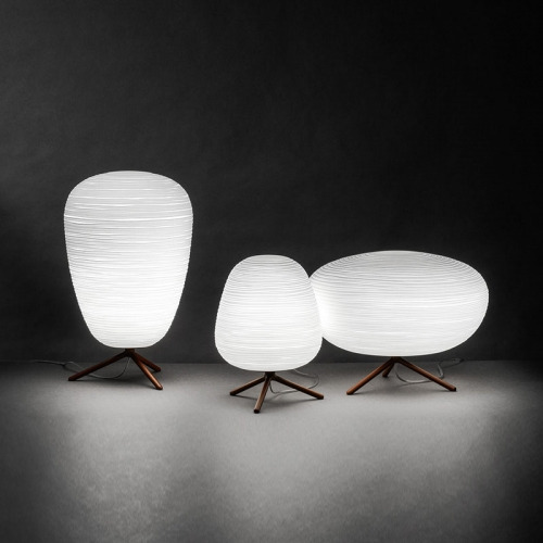 Modern Style Rituals 1 Light Table Lamp with Ribbed Glass Shade for Bedside or Living Room Lighting