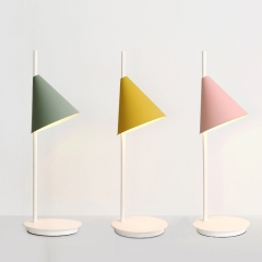 Northern Single Light Mini Macaron Conic Table Lamp with Circular Base for Modern Living Rooms, Home Offices or Bedroom