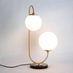 2 Light Brass Glass Globe Table Lamp in Modern Style