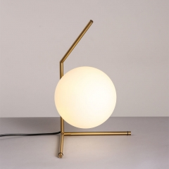 Modern IC T Low Table Lamp with Opaline Glass Globe