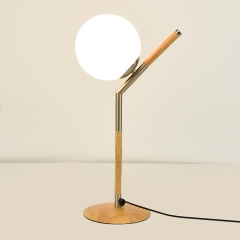 Modern Style 1 Light Wooden Desk Lamp with Globe Shade