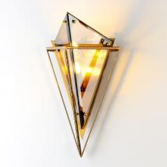 Modern Design 2 Light Triangle Glass Wall Sconce in Gold