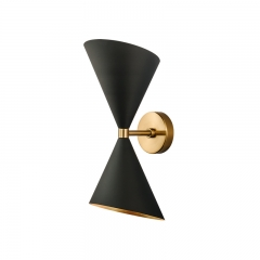 Mid Century Modern 2 Light Up and Down Wall Sconce in Black/Brass