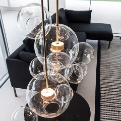 Modern Soap Bubble Pendant Light Clear Globe Glass 1 Light LED Pendant Light