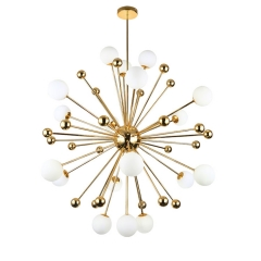 Mid Century Modern 18 Light Sputnik Inspired Chandelier in Gold