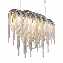 Modern Luxury 5 Light Volver Linear Chain Chandelier for Dining, Living Room or Hotel Villa