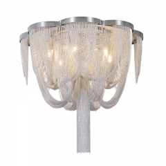 Contemporary 4 Light Silver Chain Chandelier for Living Room and Hotel Villa