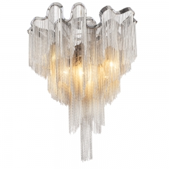 Contemporary Style 6 Light Stream Metal Chain Ceiling Lamp in Chrome for Living or Dining Room