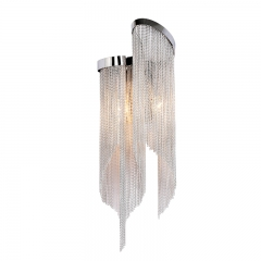 Modern Style 2 Light Stream Metal Long Chain Wall Lamp Nickel-Plated