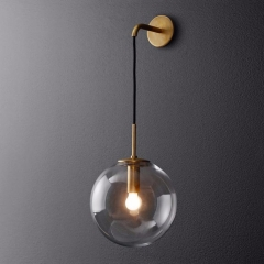 Modern Style 9.8'' Wide Hanging Wall Sconce with Clear Globe Glass Shade in Gold