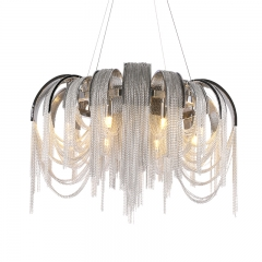 Luxurious Modern 8 Light Stream Chain Volver Circular Chandelier