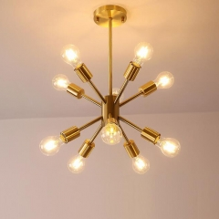 Mid Century Modern 10-Light Sputnik Chandelier in Brushed Brass