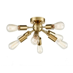 Industrial Style Brass Sputnik Chandelier with 8 Socket Flush Mount Ceiling Light
