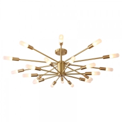Modern Style 20 Light 2-Tier Ceiling Light in Brushed Brass