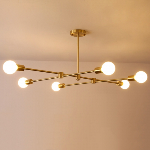 Mid Century Industrial 6 Light Branching Ceiling Light in Brushed Brass for Dining Room and Living Room Lighting