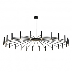 70 3/4'' Wide 24 Lights Wrought Iron Large Modern Foyer Entryway Black LED Starburst Chandelier