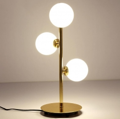Modern Style 3-Light Table Lamp in Gold with Opal Glass Globes