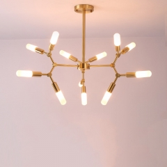 Mid Century Modern Brass Branching Chandelier 12 Light with Frosted/Clear Glass