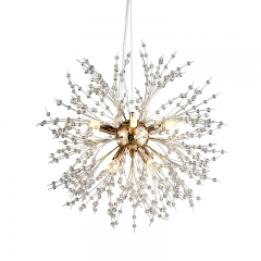 Contemporary Firework Crystal Chandelier for Living Room Bedroom 8-Light in Chrome/Gold