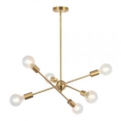 Modern Sputnik Chandelier 6 Lights Gold for Hallway Bar Dining Room