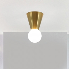 Cheap Modern Medium Base E26 Brass Finish Hallway Foyer 1 Light Mini Flush Mount Ceiling Light