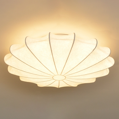 Mid-century Modern 3 Light Flush Mount Ceiling Lamp with Soft White Silk Shade