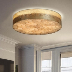 Modern Wood Style LED Flushmont and Pendant Light Dual-use for Bedroom, Living Room
