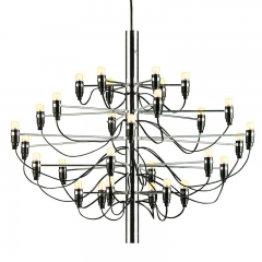 Contemporary 2097  Modern Retro Edison Pendant Lamp Branches 30 Bulbs Chandeliers in Chrome
