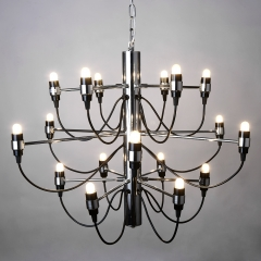 Mid Century Modern Chandelier in Chrome, 18/30/50 Lights Suspension Pendant Chandelier for High Ceiling Entryway Foyer Dining Room